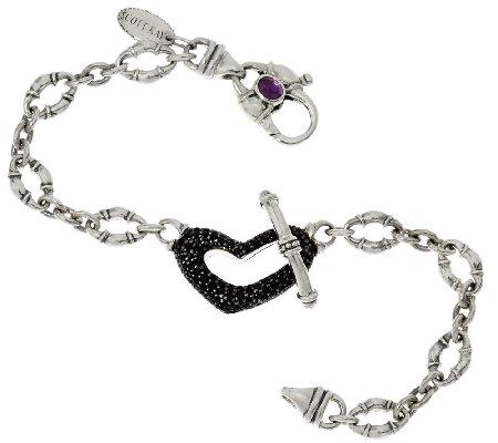 Scott Kay 0 95 Cttw Black Spinel Heart Bolo Link Bracelet