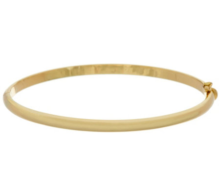 "14K Gold Solid Small 1/8"" Oval Hinged Bangle Bracelet, 14.8g"