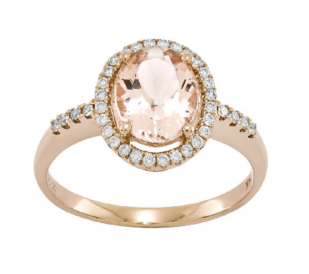 1.55 cttw Oval Morganite & 1/5 cttw Diamond Halo Ring, 14K