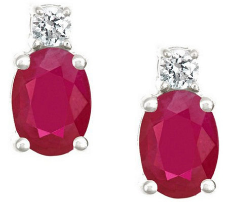 Premier 1.50cttw Oval Ruby & 1/8cttw Diamond Earring, 14K