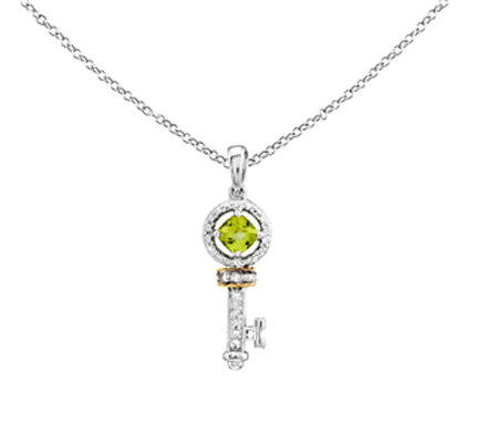 Sterling & 14K Peridot & Diamond Key Pendant w/Chain