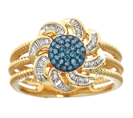Blue & White Diamond Flower Ring, 3/10cttw, 14K, by Affinity