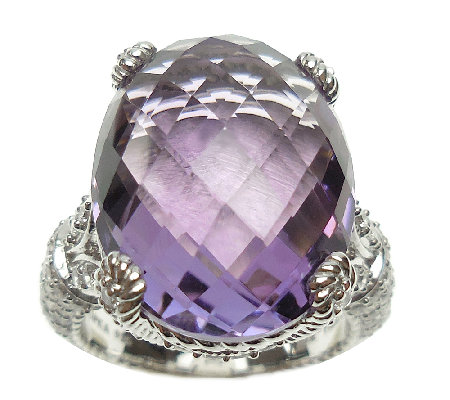 Judith Ripka Sterling Silver 13.70cttw Oval Amethyst Ring