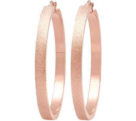 Stainless Steel Brushed Hoop Earrings