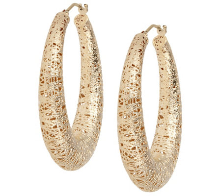 "Arte d'Oro 1-1/2"" Satin-Finish Oval Hoop Earrings, 18K"