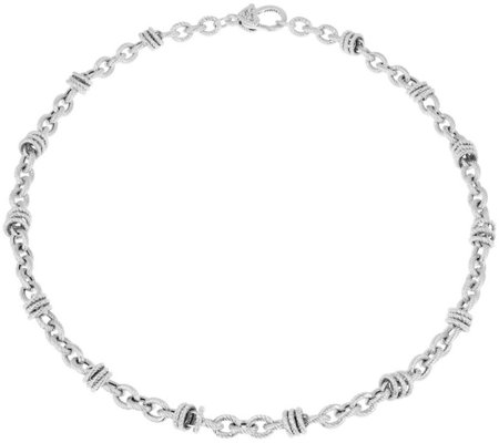 "Judith Ripka 18"" Verona Circle Link Sterling Necklace 29.5g"