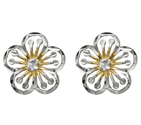 14K Gold Two-tone Flower Post Earrings