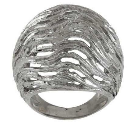 """As Is"" Italian Silver Sterling Textured & Satin Finish Domed Ring"