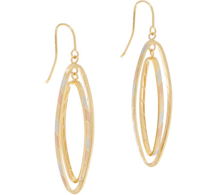 Italian Gold Tri-Color Navette Earrings, 14K Gold