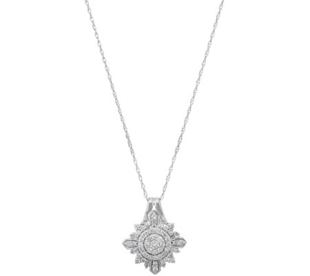Baguette & Round Diamond Pendant 1/2 cttw, 14K by Affinity