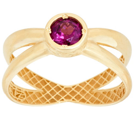 """As Is"" 14K Gold Polished Gemstone X-Design Ring"