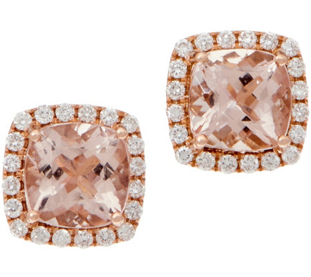 Cushion Morganite and Diamond Stud Earrings, 14K, 2.50 cttw