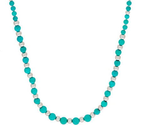 Graduated Turquoise Necklace, Sterling Silver