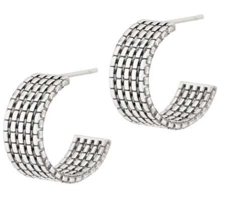 "JAI Sterling Silver Wide Box Chain 3/4"" Hoop Earrings"