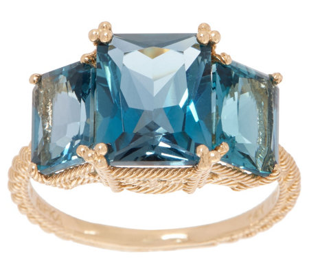 Judith Ripka 14K Gold London Blue Topaz Ring, 6.00 cttw