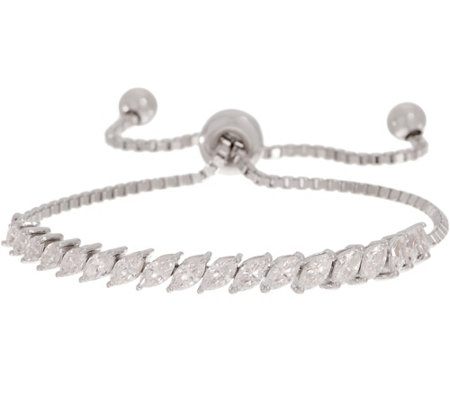 Diamonique Marquise Adjustable Bracelet, Sterling Silver