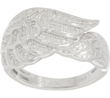 """As Is"" Angel Wing Diamond Ring Sterling, 1/7 cttw by Affinity"
