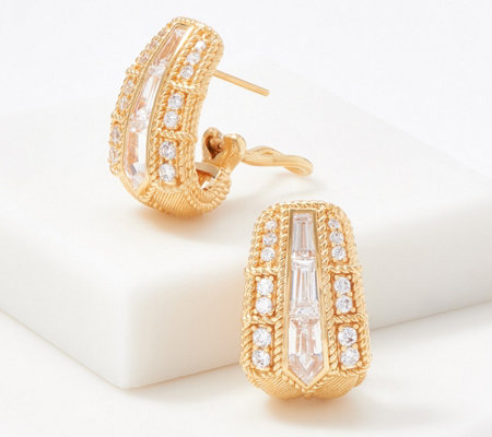 Judith Ripka Sterling Silver or 14K Gold Clad Diamonique Hoop Earrings