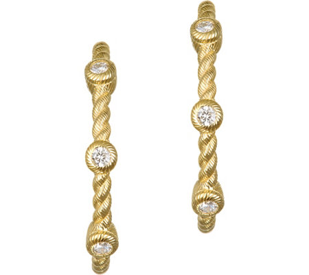 "Judith Ripka 14K Gold & Diamond 7/8"" HoopEarrings"