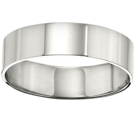 Men's 14K White Gold 6mm Flat Comfort Fit Wedding Band