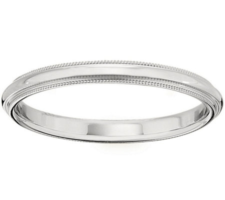 Women's 18K White Gold 2.5mm Milgrain Wedding Band