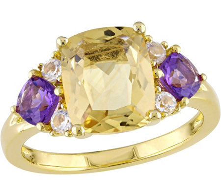 Sterling 3.30 cttw Citrine and Amethyst Ring