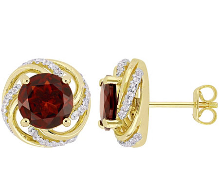 Sterling & 14K 4.30 cttw Garnet & White Topaz Stud Earrings