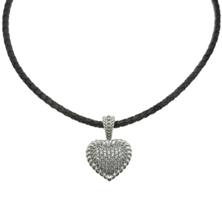 Elyse Ryan Sterling White Topaz Heart Enhancerwith Cord