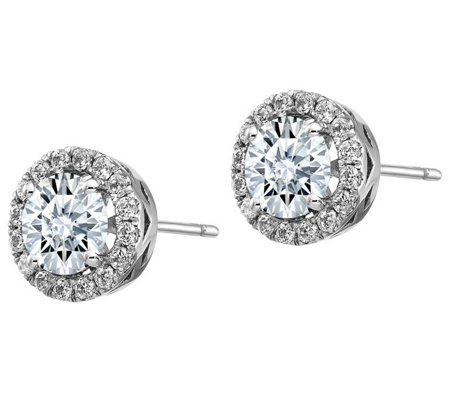 Moissanite 2 45 Cttw Round Halo Earrings 14k