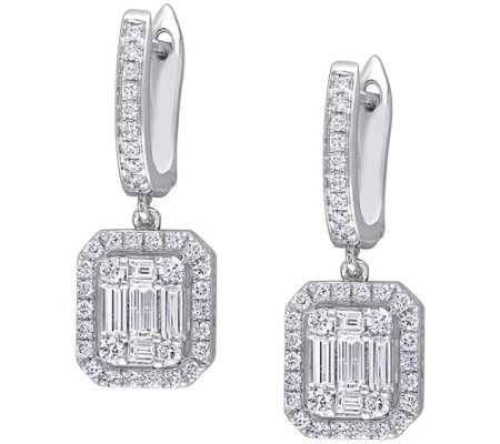 Affinity 1 10 Cttw Diamond Halo Dangle Earrings 14k