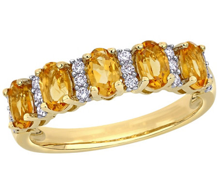 14k 1 15 Cttw Citrine 1 7 Cttw Diamond Semi Eternity Ring