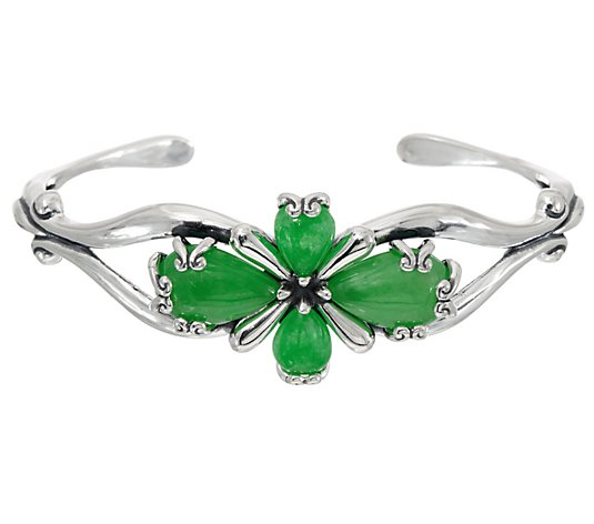 Carolyn Pollack Sterling Embrace the Stone Jade Cuff