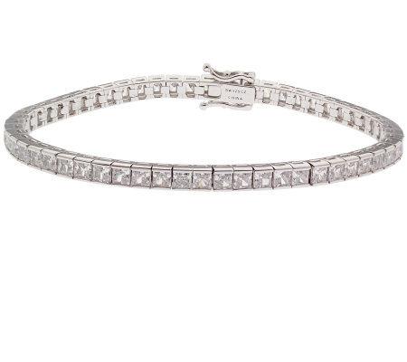 Epiphany Platinum Clad Diamonique Princess Cut Tennis Bracelet