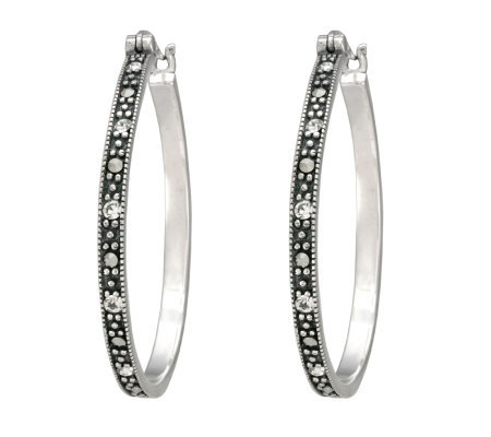 Suspicion Sterling Marcasite and Crystal RoundHoop Earrings