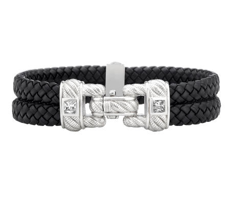 Judith Ripka Sterling Braided Double Row Bracelet