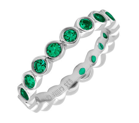 Simply Stacks Sterling Large Created-Emerald Eternity Ring