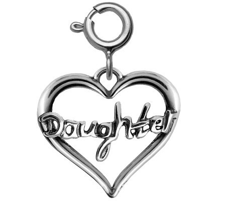 "Sterling ""Daughter"" Heart Charm"