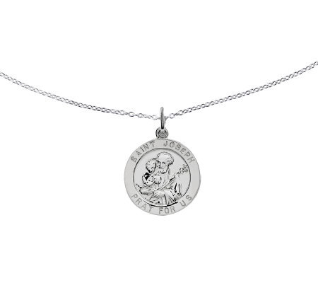 Sterling Saint Joseph Round Solid Pendant W 18 Chain