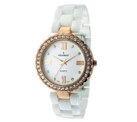 Peugeot Women S White Ceramic Swarovski Crystalwatch