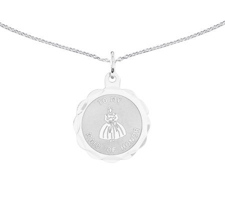 "Sterling Maid of Honor Round Disc Pendant w/ 18"" Chain"