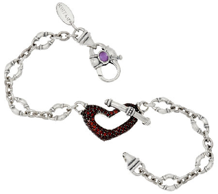 Scott Kay 0 70 Cttw Garnet Pave Heart Bolo Link Bracelet
