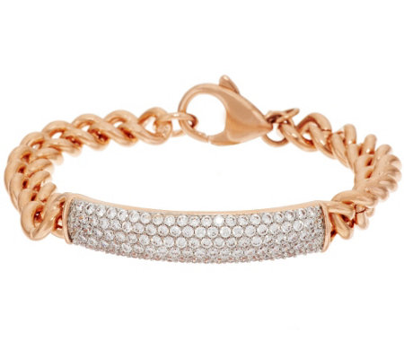 """As Is"" Bronze Crystal ID Curb Link Bracelet by Bronzo Italia"