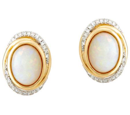 Australian Opal And Diamond Stud Earrings 14k Gold 1 30 Cttw