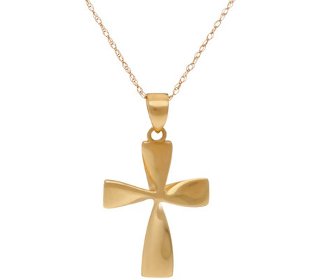 "14K Gold Polished Twisted Cross Pendant with 18"" Chain"
