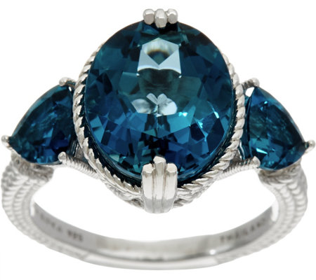 Judith Ripka Sterling Silver 6.70 cttw London Blue Topaz Ring