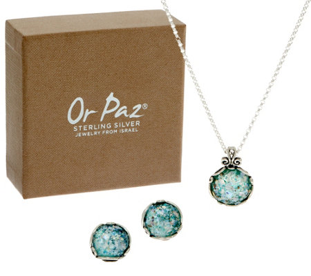 Or Paz Sterling Silver Roman Glass Necklace & Earrings Set
