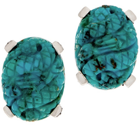 Stephen Dweck Sterling Silver Carved Turquoise Earrings