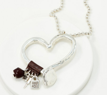 UNOde50 Silvertone Heart Charm Necklace- Love at First Sight