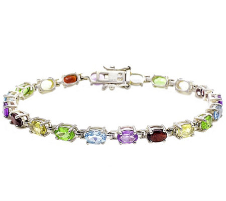 Sterling 9.00 cttw Oval Shaped Multi-gemstone Bracelet