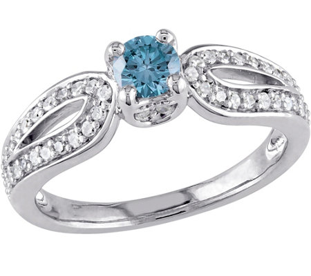 Blue Diamond Engagement Ring, 14K, 1/2 cttw, byAffinity